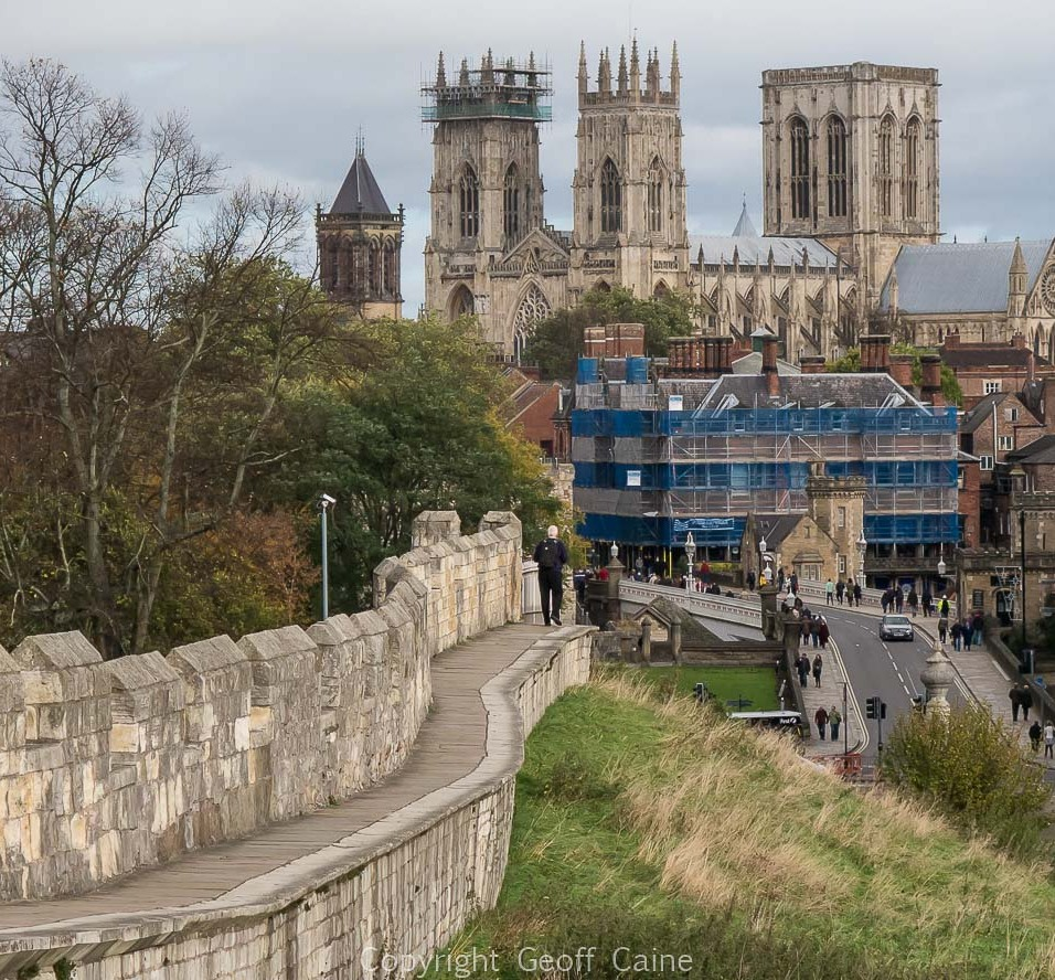 Looking nort-east towards the York Minster from the west wall.