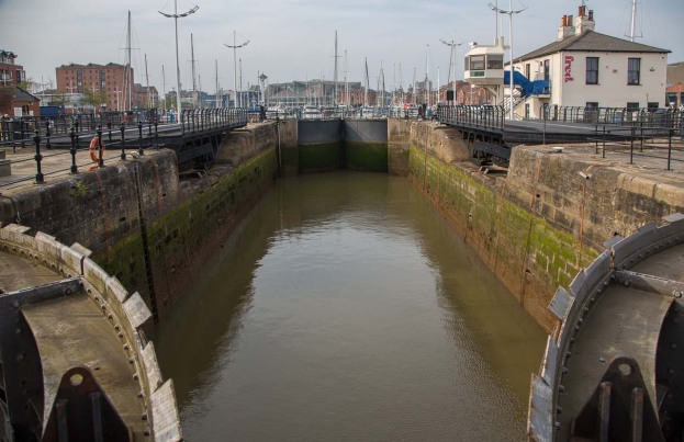 Massive lock leading to Hull Marina from Humber Dock entrance basin.