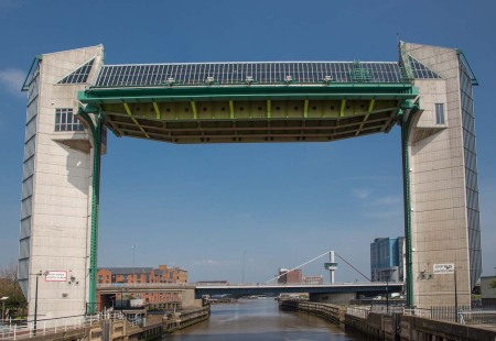 Tidal Surge Barrier across the River Hull. A 202 ton structure is rotated then lowered to prevent tidal surges flooding 1700 properties in the city.