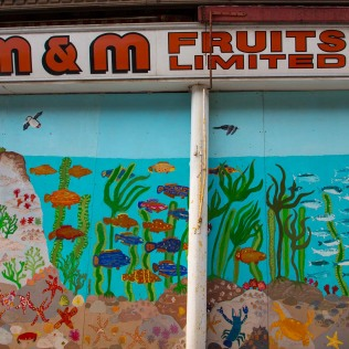 An old and now closed fruit business but decorated to retain the character of the area.