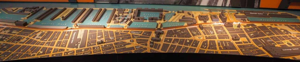 Centre view of the docklands model. Albert Dock is centre stage