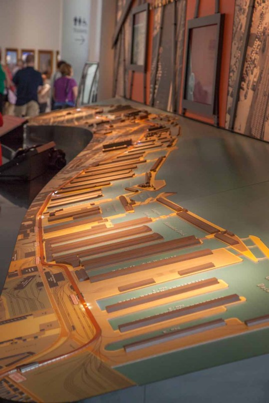 In the museum, a view from the north of the model of the docklands in their hey-day.