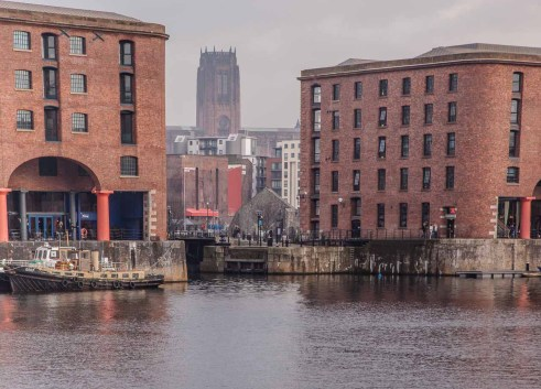 View from Albert Dock over Salthouse dock . Liverpool Anglican Cathedral is in the background, some 2.1/4 miles away.